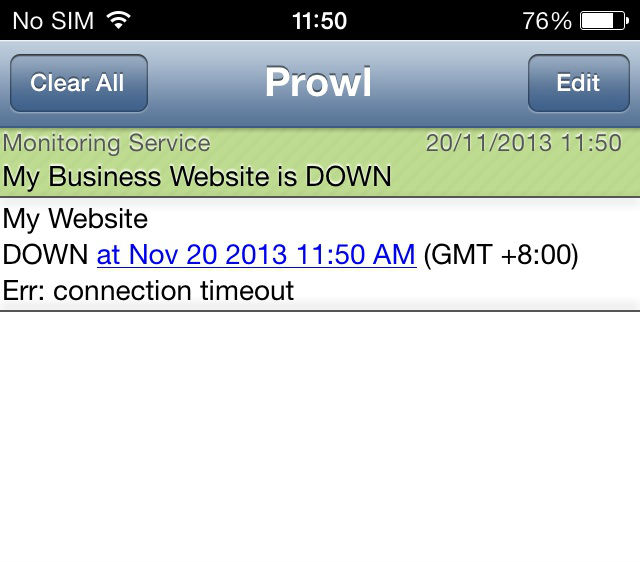 Prowl notificatie